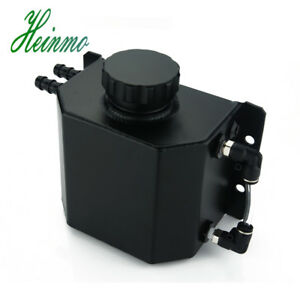 Universal Aluminium 1l Oil Catch Can Tank Reservoir With Drain Plug 1000ml Black