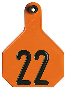 All American Livestock Tag Numbered Large Orange 25 pk