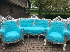 Antique Unique Sofa Couch Settee With 2 Chairs In Baroque