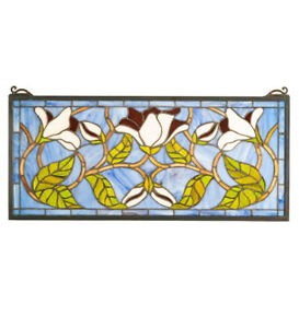 25 Wx 11 H Magnolia Flower Tiffany Style Stained Glass Window Panel Sun Catcher