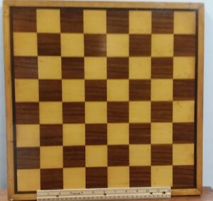 Vintage 17 3 4 Folk Art Inlay Wood Game Board Chess Checkers