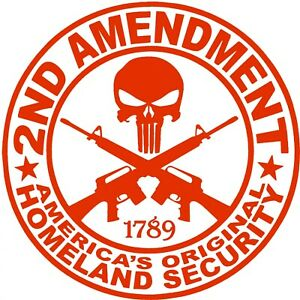 2nd Amendment Decal Vinyl Gun Rights Punisher Window Sticker Made In America