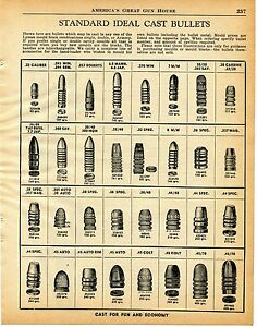 1960 Print Ad of Standard Ideal Cast Bullets Chart from Lyman Mould Blocks