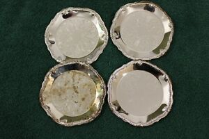 Set Of 4 Silver Plated Coasters