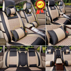 5 Seats Car Seat Covers Pu Leather Cooling Mesh Breathable Cushions Pillows Set