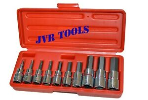 10pc 3 8 1 2 Drive Hex Key Allen Head Metric Socket Bit Set 3 16 Mm