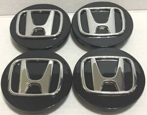 4 Pcs Wheel Center Cap Honda Black Chrome Logo 69 Mm 2 72 H2 Accord Civic