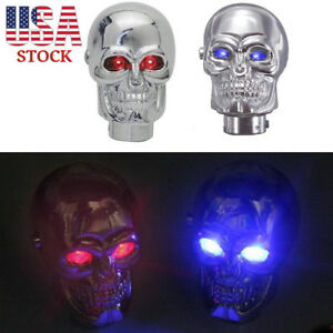 Universal Auto Car Gear Knob Shift Lever Skull Head Led Manual Stick Shifter Us