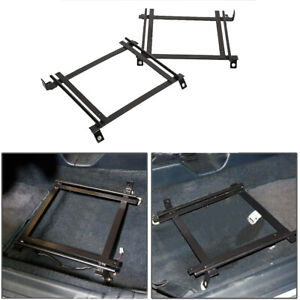 Racing Bucket Seat Base Mount Adapter Brackets Rails Tracks For 92 95 Civic Pair