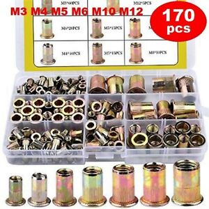 Rivet Nut Kit Threaded Insert Nutsert Zinc Plated Carbon Steel M34561012 Set New