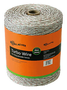 Electric Fence Turbo Wire Ultra White 1 16 in X 2 624 ft