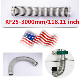 Us Stock Kf 25 Flange Vacuum Bellows Hose 3000mm 118 11inch Iso kf Flange Nw 25