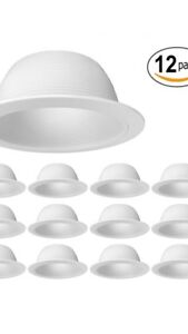 6 White Baffle Metal Recessed Can Light Trim 12 Pack