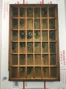 Vintage Skeleton Pantograph Brass 1 Punched Letters Numbers Lot Old Wood Tray