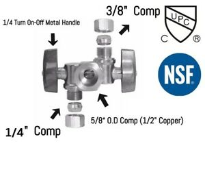 Pack 5 Pcs 1 4 Turn Two Handle Angle Stop Valve 5 8 comp X 3 8 Comp X 1 4 Comp