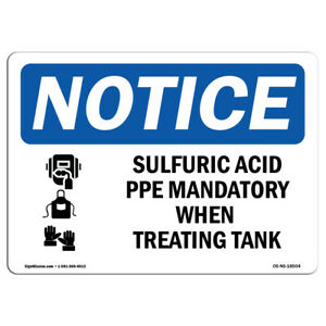 Osha Notice Sulfuric Acid Ppe Mandatory Sign With Symbol Heavy Duty