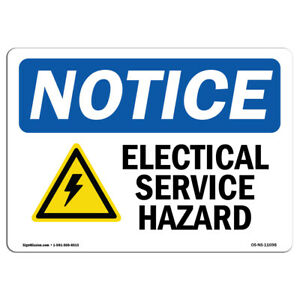 Osha Notice Electrical Shock Hazard Sign With Symbol Heavy Duty