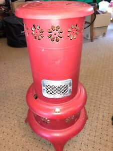 Antique 4215 Nesco Deluxe Oil Heater Red Kerosene Brass Tank