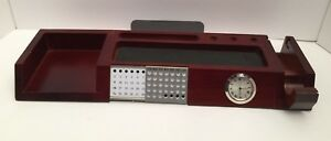 Vintage Desk Organizer Calendar Tape Dispenser Sticky Note Pen Stationary Wood