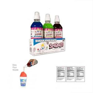 Snowie Shaved Ice Snowcone Syrup Sugar Free 3 Pack