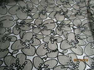 Antique Vintage French Alencon Lace Fabric W Netting Corded Outlined Floral