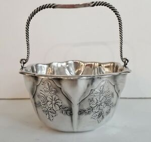 Swing Handle Basket Whiting Aesthetic Sterling With Acid Etched Florals