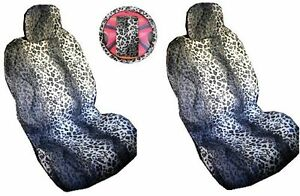 Grey Leopard Print 7 Piece Lowback Seat Covers Steering Wheel Cover Shoul