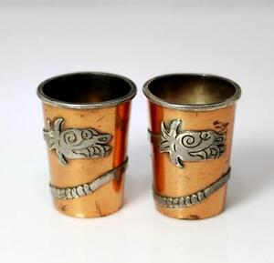 Sterling Silver Copper Vermeil Victoria Mexico Taxco Snake Shot Glasses 7624