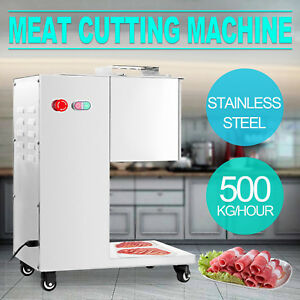 500kg h Stainless Steel Meat Cutting Machine W Pulley Slicing 3mm Blade Kitchen