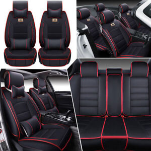 Deluxe 5 Sits Car Seat Covers Pu Leather Luxury Accessories Cushion Pillows Us