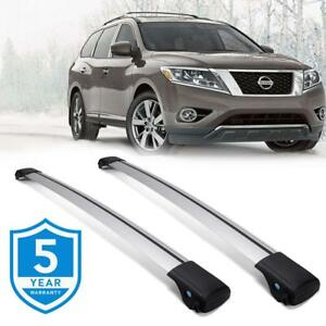 For 2013 2017 Nissan Pathfinder Roof Rail Rack Cross Bars Kayak Carrier Silver