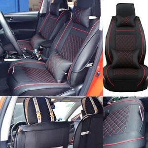 Us 2x Universal Car Suv Front Pu Leather Seat Covers Cushions W neck Pillows Set