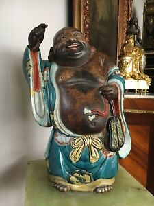 Authentic Antique Japanese Hotei Statue Kutani Ceramic Laughing Buddha Meiji Era