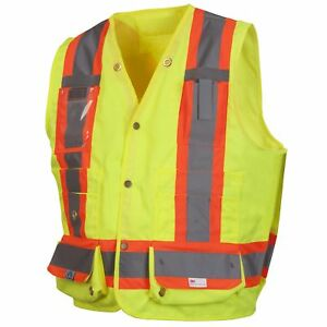 Pyramex Class 2 Heavy Duty Self Extinguishing Surveyor Safety Vest Yellow lime