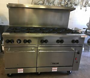 Vulcan 60 Natural Gas 10 Burner Range W Standard Convection Oven