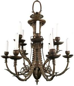 Antique French Louis Xvi Empire Neoclassical Bronze Brass 12 Light Chandelier