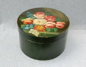 Pantry Box Wood Vintage Tole Folk Art Painted Green 11 X 6 Cheese Hat Round