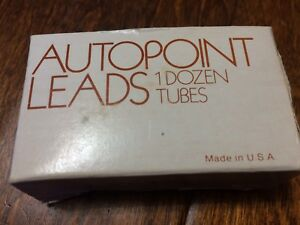 Vintage Autopoint Pencil lead 12 canisters 9MM Red B soft 1 38
