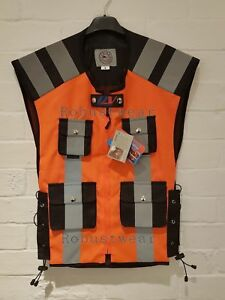 Motorcycle Cycle Security Water Resistant Hi Viz Vest Waistcoat Orange Pockets