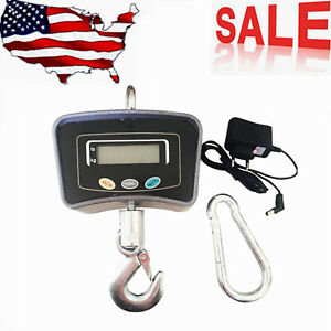 500kg Digital 1100lb Electronic Crane Scale With Lcd Display Steel Hook Us Ship