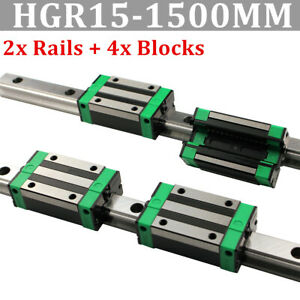 2x Hgr15 Linear Guide Rail 1500mm 2pcs Hgh15ca Carriage Us Shipping
