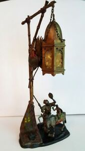 Anton Chotka Cold Painted Bronze Lamp Figural Bedouin Monkey Austrian Antique