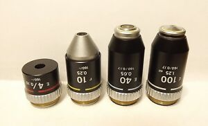 Lot Of Microscope Objective Lens 4x 10x 40x 100x Alphaphot Labophot Optiphot