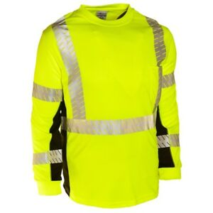 Ml Kishigo Black Series Class 3 Long Sleeve Safety Shirt Yellow lime