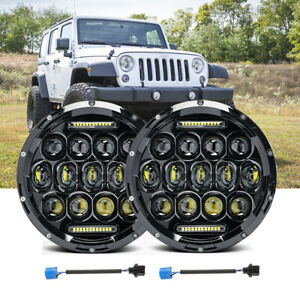 2x 7inch Round 200w Total Led Headlights Hi lo For 97 17 Jeep Jk Tj Lj Wrangler