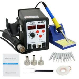 2in1 Smd Soldering Rework Station Hot Air Iron 898d 11tips Esd Plcc