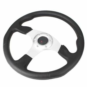 1pc 14 Universal Car Steering Wheel With W Horn Button Racing Style Silver