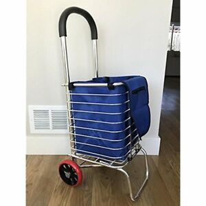 Folding Grocery Utility Carts Metal Shopping With Wheels And Liner Strong Easy