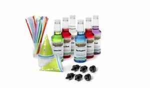 Hawaiian Shaved Ice 6 Flavors Fun Pack Snow Cone Syrup Starter Kit 50 Cone Cups