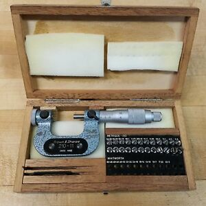 Brown Sharpe 210 11 0 25mm Thread Micrometer With Tips Used